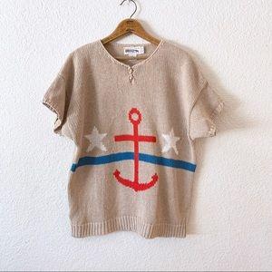 80s Nautical Beach Anchor Stars Knit Shirt Top L